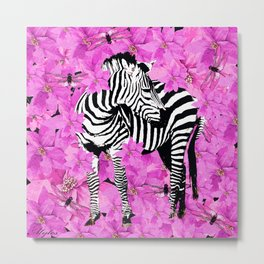 ZEBRA AND PINK FLOWERS and DRAGONFLIES Metal Print