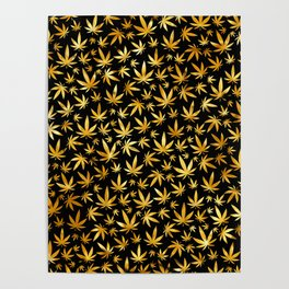 Black Gold Weed Pattern Poster