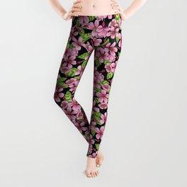 Pink Crabapple Blossoms - Floral Pattern Leggings