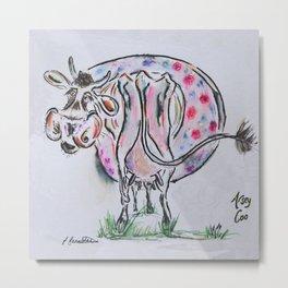 Arsey Coo, highland Cow Metal Print