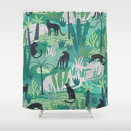 Panthers In Jungle Pattern Shower Curtain