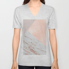 Blush pink layers of rose gold and marble Unisex V-Neck