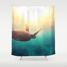 Sea Turtle - Underwater Nature Photography Shower Curtain