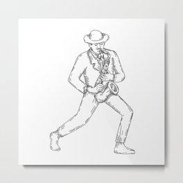 Jazz Musician Playing Saxophone Monoline Metal Print