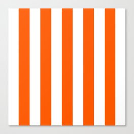 Willpower orange - solid color - white vertical lines pattern Canvas Print