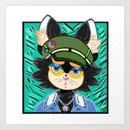 """Bored Kitty"" Portrait, comic art, comics, graphic design, cat, cats, cartoon, hipster Art Print"
