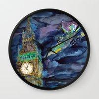 peter pan Wall Clocks featuring Peter Pan by Kris-Tea Books