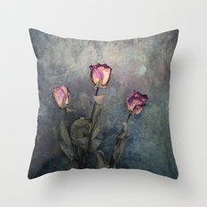 Three Dried Roses III Throw Pillow