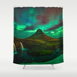 Lights over Kirkjufell Shower Curtain