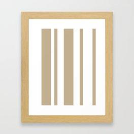 Mixed Vertical Stripes - White and Khaki Brown Framed Art Print
