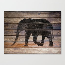 Rustic Elephant Animal Silhouette on Wood A215 Canvas Print
