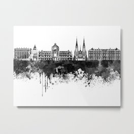 Strasbourg skyline in black watercolor Metal Print