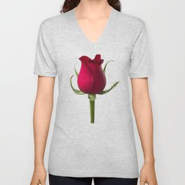 Single red rose Unisex V-Neck