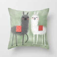 LAMMAS WITH RED BLANKETS Throw Pillow