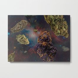 Weed in Space Metal Print