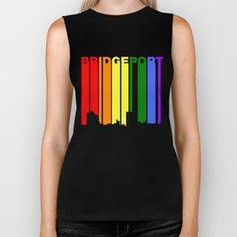 Bridgeport Connecticut Gay Pride Rainbow Skyline Biker Tank