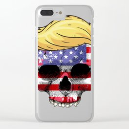 Skull with iconic Trump Hair president Flag America Tees Clear iPhone Case
