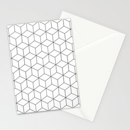 3D Cubes Line Pattern Stationery Cards