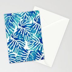 Tropical Leaves – Blue Abstract Stationery Cards