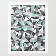 Geometric Pattern (With a Touch of Colour) Art Print