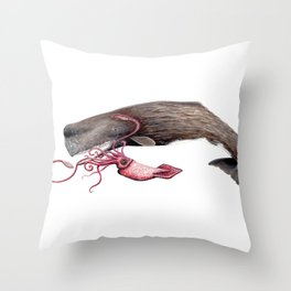 Epic battle between the sperm whale and the giant squid Throw Pillow