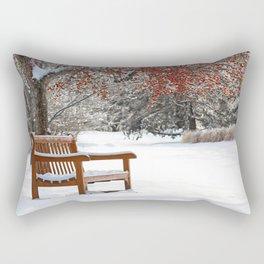 Winter Bench and Crabapple Tree Rectangular Pillow