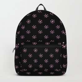 Cotton Candy Pink on Black Snowflakes Backpack