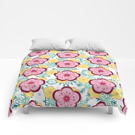 Sweet Plum Flower with Jade Snow Flake Comforters