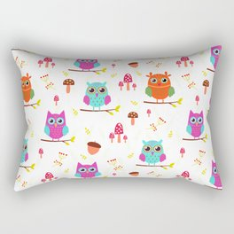 Artistic hand painted pink teal cute owl floral pattern Rectangular Pillow