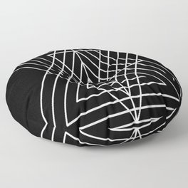 Overlapping Triangles ( Black & White) Floor Pillow