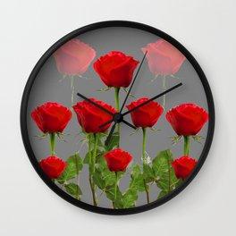 ORIGINAL GARDEN DESIGN OF RED ROSES ON GREY Wall Clock