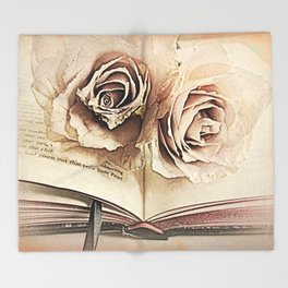 Roses on Book Library Art A113 Throw Blanket