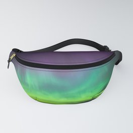 Northern lights over lake in Finland Fanny Pack