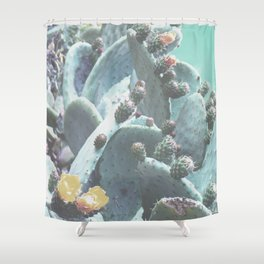 Green Flowering Cacti Shower Curtain