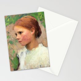 12,000pixel-500dpi - George Clausen - A Village Girl - Digital Remastered Edition Stationery Cards