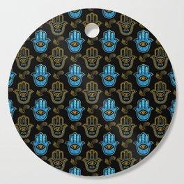 Hamsa Hand pattern - Gold and Blue glass Cutting Board