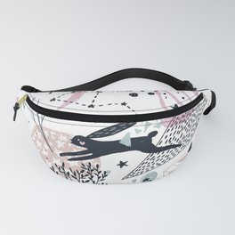 Floral Doodle with a Rabbit Fanny Pack
