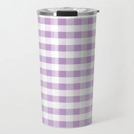 Gingham buffalo plaid check pattern purple lilac minimal basic pattern Travel Mug