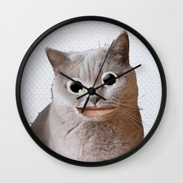 Cat With Googly Eyes Wall Clock