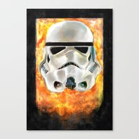 stormtrooper Canvas Prints featuring Stormtrooper by Mishel Robinadeh