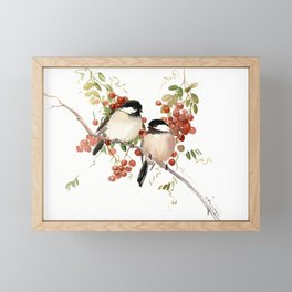 Chickadee Bird Vintage Bird Artwork, two birds, chickadees woodland design Framed Mini Art Print