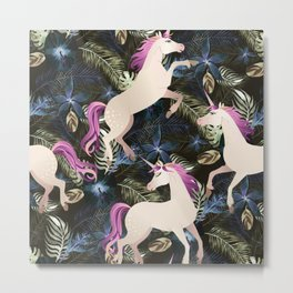Unicorns and Flowers Metal Print