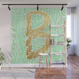 Botanical Metallic Monogram - Letter B Wall Mural