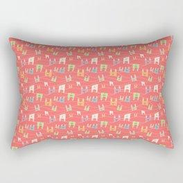 Colorful bunnies on salmon/pink Rectangular Pillow