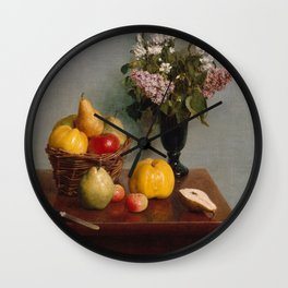 Henri Fantin-Latour - Still Life with Flowers and Fruit (1866) Wall Clock