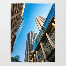 Low angle view perspective on Pitt Street in Sydney Poster