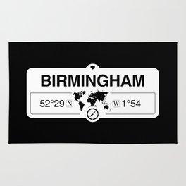 Birmingham England GPS Coordinates Map Artwork with Compass Rug