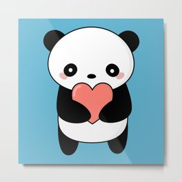 Kawaii Cute Panda Bear Metal Print