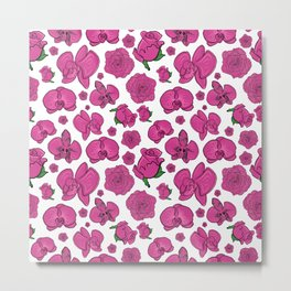 Beautiful Roses and Orchids Metal Print