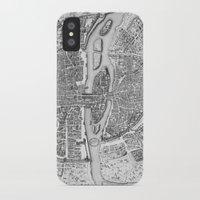 map iPhone & iPod Cases featuring Paris map  by Le petit Archiviste